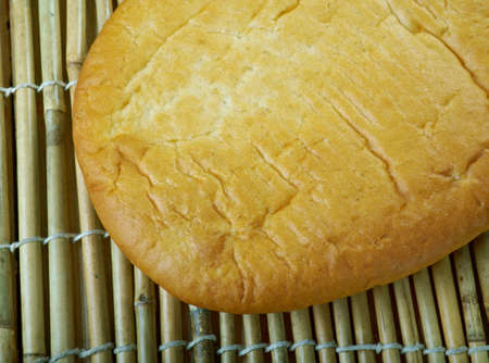 Lagana bread -  Greek flatbread traditionally baked for Clean Monday, the first day of the Great Lent. Stock Photo
