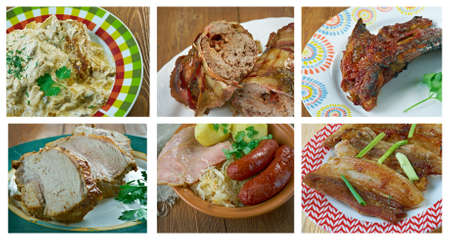 smothered: Food set of different pork meat . collage.