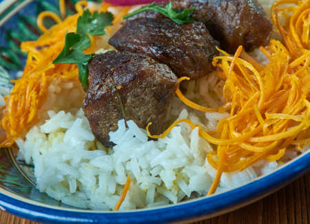 tacik pilavi . Central Asian cuisine. Stock Photo