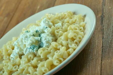 pasta with  goat cheese - Pasta con crema di ricotta Stock Photo