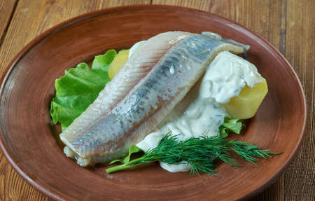 Herring with dill and Scandinavian mustard potato salad