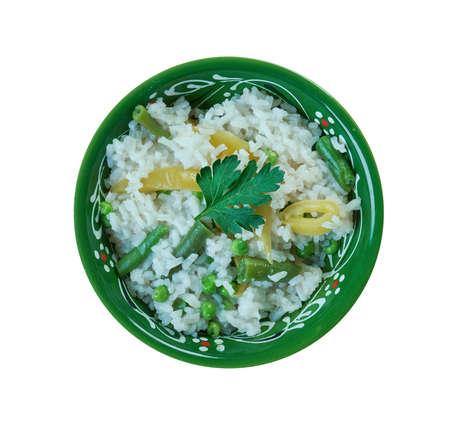 Vegetable Bagara - rice delicacy prepared in Hyderabad, Telangana, India. Stock Photo