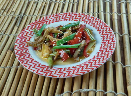 Chinese  Fried Tripe With Pickled Mustard Greens Stock Photo