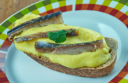 Scotch woodcock -savoury consisting of creamy, lightly scrambled eggs with anchovy served on toast.