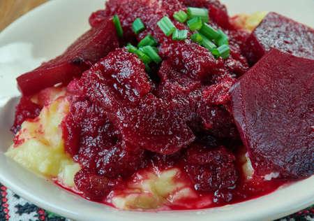 Shpundra - Ukrainian dish, pork ribs stewed in beetroot.