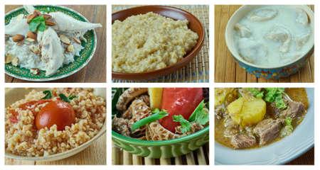 Food set oriental cuisine.collage Stok Fotoğraf - 76850868