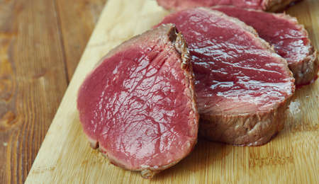 London broil -  beef dish made by broiling marinated beef.British cuisine Stock Photo