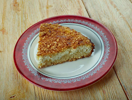 Russian cottage cheese pie. close up