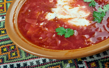Ciorba de sfecla rosie - Romanian national dish, beetroot soup