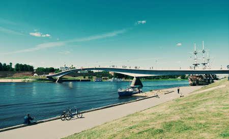 View at river Volkhov in Veliky Novgorod.Russia, Stock Photo