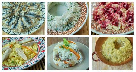 Food set of different pilaf . collage Stok Fotoğraf