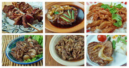 sop: Food set of different  beef  meat . collage