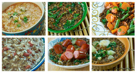 Food set of different  lentils dishi . collage Stok Fotoğraf