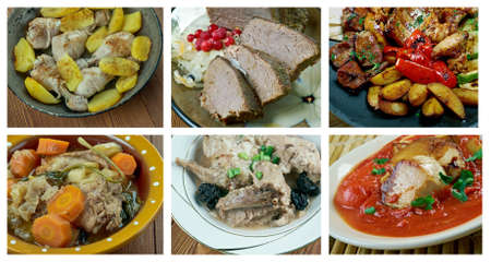 Food set of differen  meat . collage