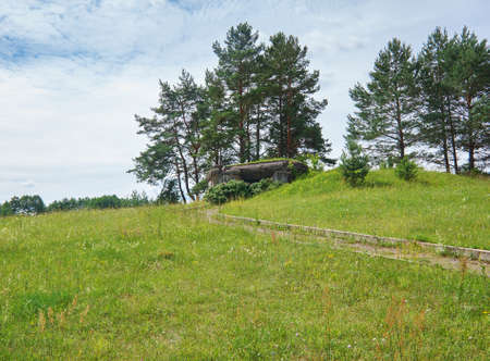 Soviet Army Abandoned military facility World War II Pillbox- the Second World War, Belarus. July 8, 2017