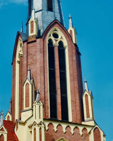 gothic revival: Catholic Church in Gothic Revival style in Gervyaty Grodno region Belarus Stock Photo