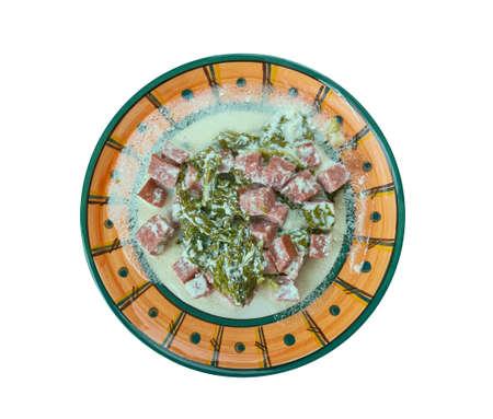 "Samoan Coconut Creamed ""Spinach"" - Palusami. Samoa cuisine Stock Photo"