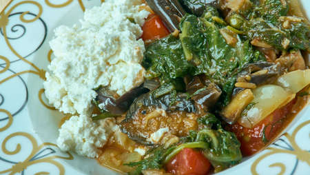 Kimali Ispanak - spinach  and minced beef,  yogurt. Turkish cuisine