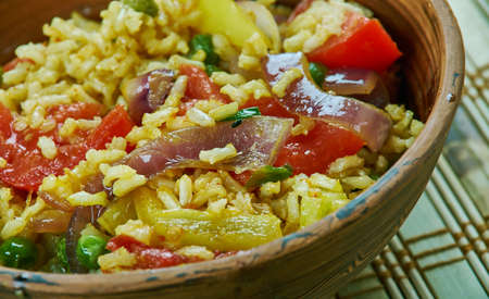 Tawa Pulao -  Indian rice dishes,  Popular street food. Stock Photo