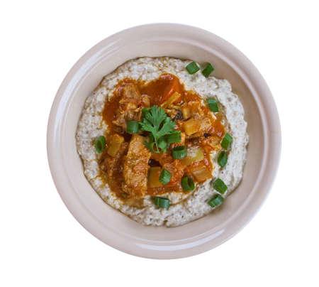 Meat Stew over Smoky Eggplant Puree - Hunkar Begendi Tarifi, Ottomans  Middle East  dinne Stock Photo