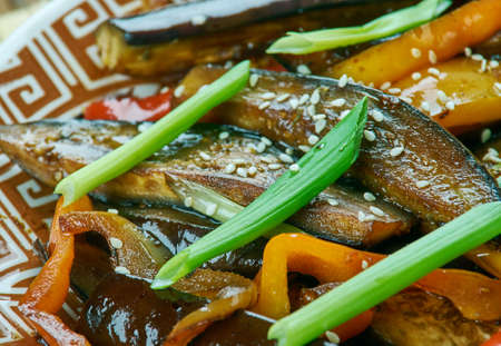 Sichuan Eggplant  -Fried vegetables in Chinese style, close up Stock Photo