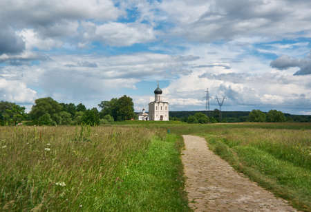 nerl: Church of the Holy Virgin on Nerl River, Bogolyubovo, Russia.Reserved meadow near Church