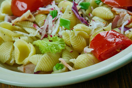 Puttanesca pasta salad, simple and delicious pasta salad Stock Photo