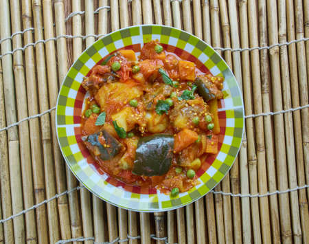 Baingan Aaloo Ki Subji - Eggplant Potato  brinjal dish Stock Photo