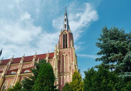 Catholic Church in Gothic Revival style in Gervyaty Grodno region Belarus Stock Photo