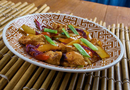 Chicken and Chinese Vegetable Stir-Fry, Chinese-style Kung Pao Chicken Stock Photo