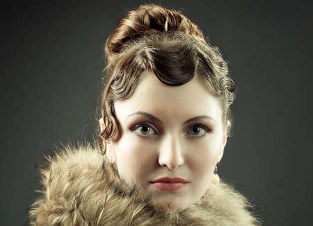 Woman retro revival vintage portrait. Zdjęcie Seryjne