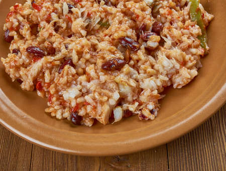 Arroz empedrado con Bacalao -  Spanish Rice with cod and beans of Valencia