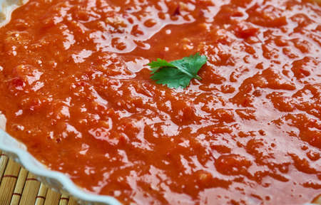 calsotada: Romesco Sauce - nut and red pepper-based sauce that originated from Tarragona, Catalonia, in Northeastern Spain. Stock Photo