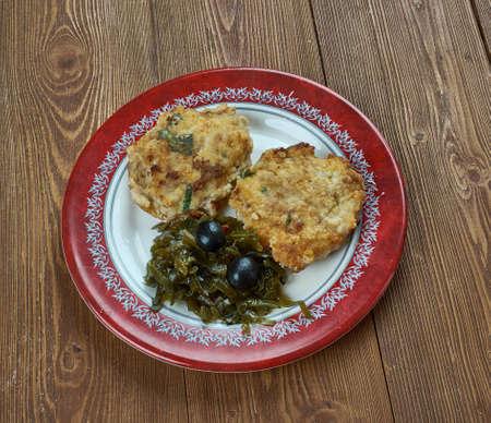 Pittige tonijn fishcakes close-up Stockfoto