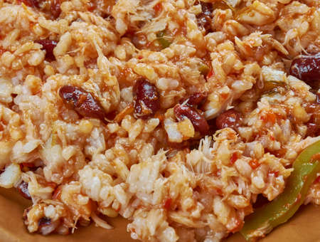 Arroz empedrado con Bacalao -  Spanish Rice with cod and beans of Valencia