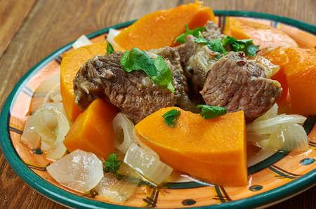 Armenian pastyner with pumpkin  - Stewed lamb  . Armenian cuisine. Stock Photo