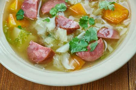 Crock Pot Andouille Sausage Cabbage Soup, close up