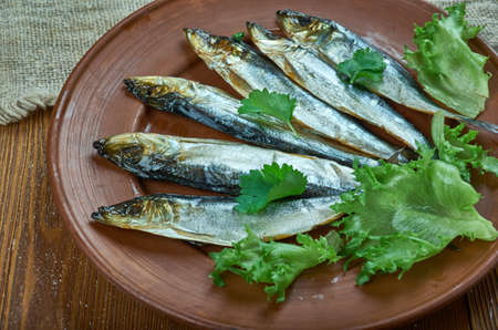Kieler Sprotte - smoked fish  north European countries, including the Baltic states, Scandinavia, Ireland, Germany, Poland and Russia. Stock Photo