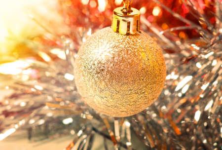 Colorful lights on christmas balls
