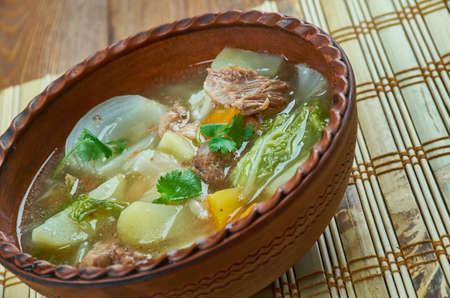 Slow Cooker Corned Beef and Cabbage Soup Stock Photo