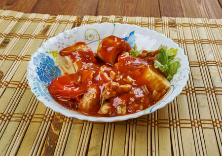 mancha: Pollo en Manchamanteles -  in Mexican cuisine, is a stew of assorted meat, chili peppers, vegetables, and fruits