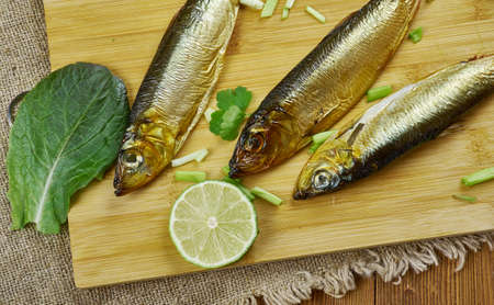 savukala - Finnish smoked fish, Baltic herring Banque d'images