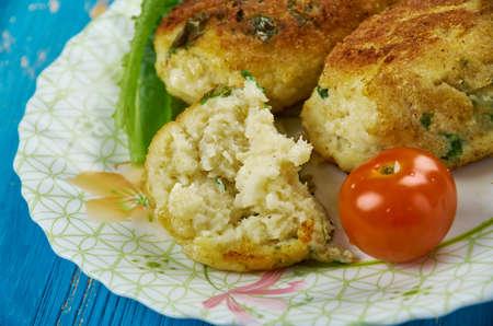 Chiftele de peste  - Fish balls with greens. Spanish cuisine