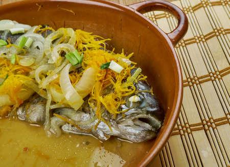 Armenian kogak - Sevan fish capoeta sevangi, steamed with vegetables