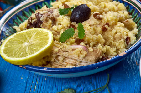 Maghreb cuisine . Traditional Seksu Tanjaoui - Couscous in the style of Tangier