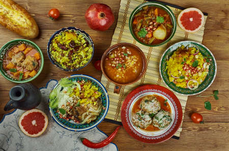 Iranian cuisine - Traditional assorted Persia dishes, Top view.