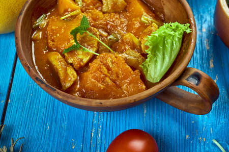 Maghreb cuisine . Traditional Mahfe stew - Mauritanian meat,  pumpkin stew in peanut sauce