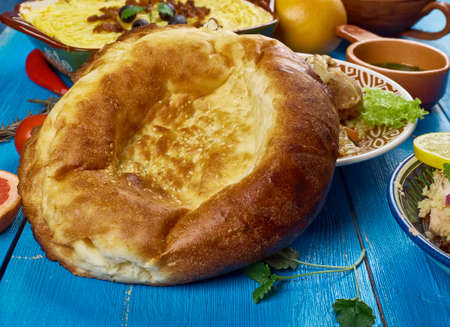 Maghreb cuisine . Traditional Moroccan bread , Top view.