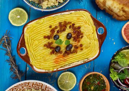 Maghreb-keuken. Torshi- Libische Aardappelpuree, Pompoen Stockfoto