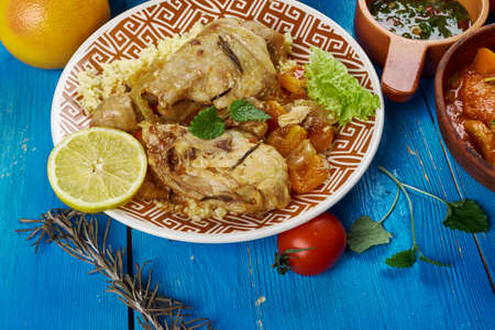 Maghreb cuisine . Traditional Moroccan Apricot Chicken